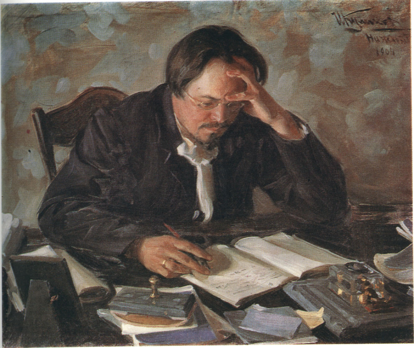 Painting of Russian writer Evgeny Chirikov by Ivan Kulikov, 1904.